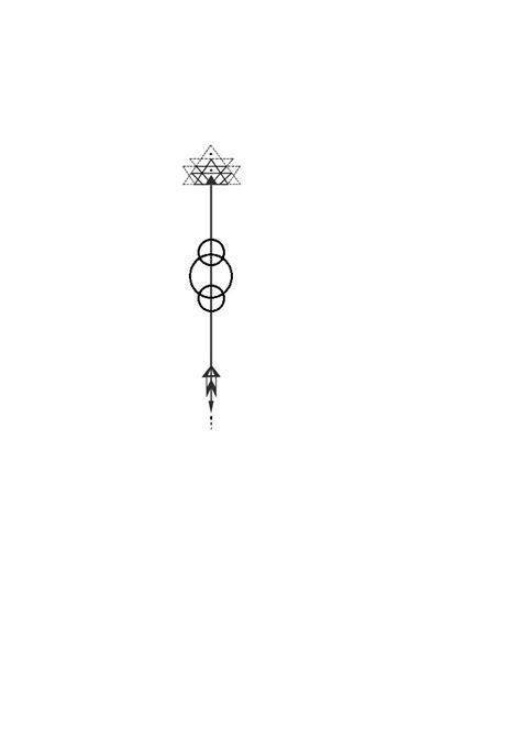 Arrow flower alchemy fire geometric tattoo. With three