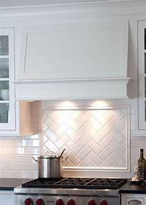 Great backsplash subway tile simple hood and herringbone for Subway tile backsplash herringbone pattern