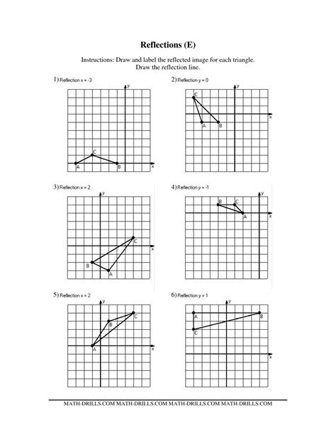 Reflection Math Worksheets  Geometry Worksheets For Practice And Studywinterrowd Math