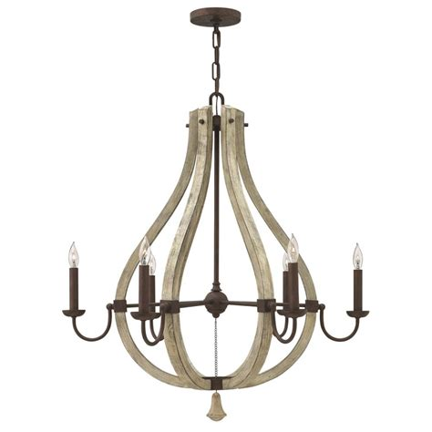rustic shabby chic chandelier on iron frame with 6 candle
