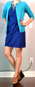 Outfit post blue dress teal cardigan