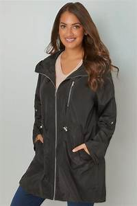 Sash Cord Size Chart Black Minimalist Parka Jacket With High Zip Up Neck Plus