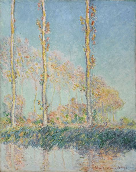 Monet Masterpieces - Poplars, Autumn, Pink Effect 1891 in high resolution, painting analysis ...