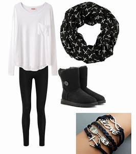Cute outfits for teens. Ugg boots black Ugg boots match with a cute cross patterned scarf. Cute ...