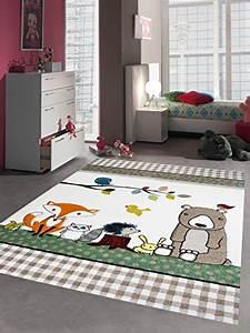 Teppich Braun Türkis : kinderteppich spielteppich kinderzimmer teppich niedliche bunte tiere mit b r fuchs hase igel ~ Frokenaadalensverden.com Haus und Dekorationen