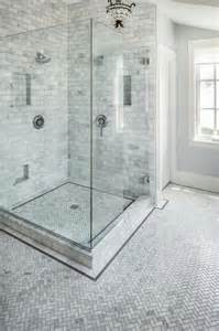 carrara marble herringbone bathroom traditional
