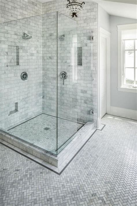 Carrara Marble Tile Bathroom by Carrara Marble Herringbone Bathroom Traditional