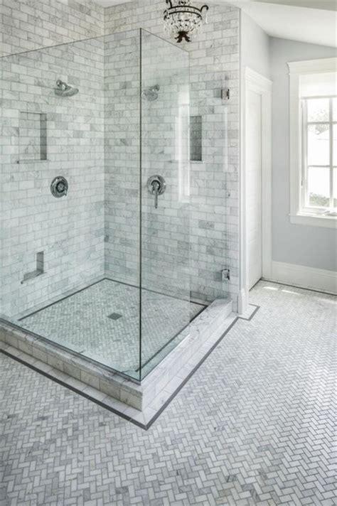 Carrara Marble Tile Bathroom Pictures by Carrara Marble Herringbone Bathroom Traditional