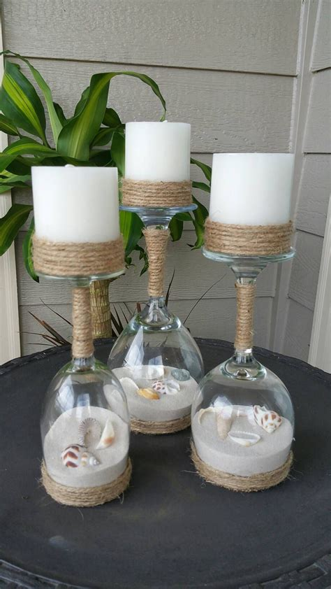 Decorating Ideas Glass Candle Holders by Seashell And Sand Wine Glass Candle Holders Set Of 3