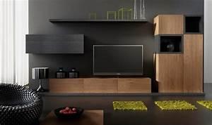 Meuble Salon Noir : ensemble meuble tv design buffet notte mobilier design pour salon moderne en bois ~ Teatrodelosmanantiales.com Idées de Décoration