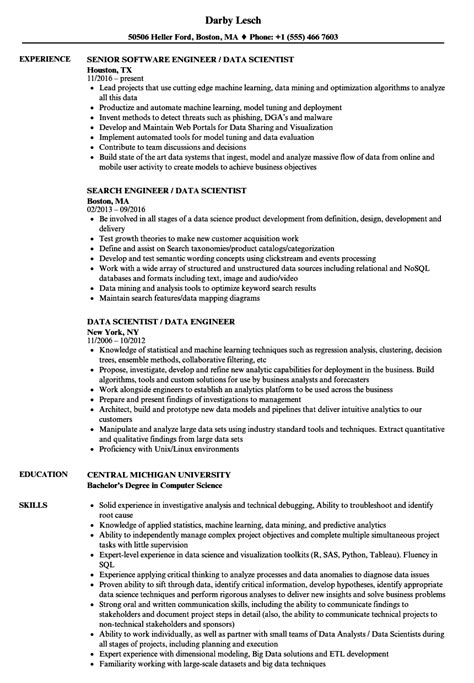 Data Engineer / Data Scientist Resume Samples | Velvet Jobs