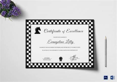chess certificates  word psd format