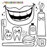 Hygiene Coloring Dental Pages Toothbrush Vector Drawing Mouth Tooth Cartoon Toothpaste Outline Floss Teeth Personal Objects Illustration Wash Sheets Bitten sketch template