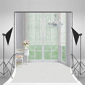 Hellodecor, Polyester, Fabric, 5x7ft, Indoor, Bedroom, Backgrounds, White, Lace, Curtain, Glass, Windows