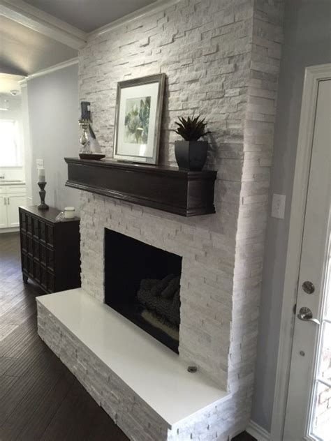 fireplace surround ideas and eye catching fireplace makeover white quartzite 6x24