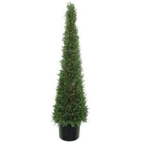 4 foot artificial cypress cone tower topiary tree potted