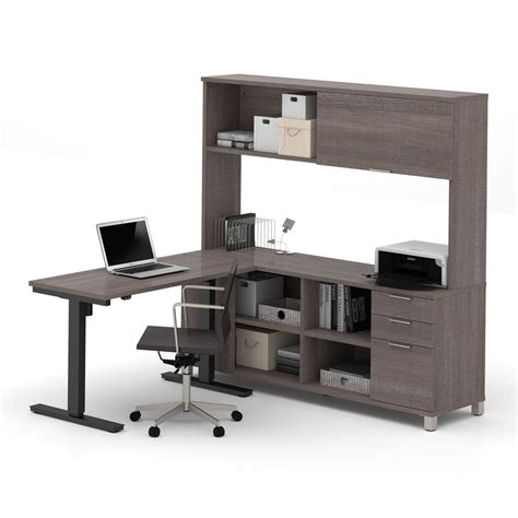 gray desk with hutch pro linea l desk with hutch including electric height