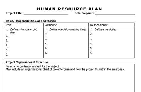 human resource plan template pmbok human resource plan planning engineer