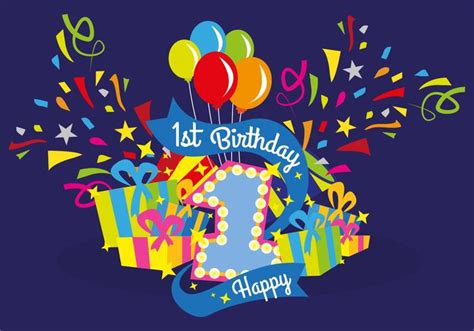 In addition, all trademarks and usage rights belong to the related institution. First Birthday Vector Illustration - Download Free Vectors ...