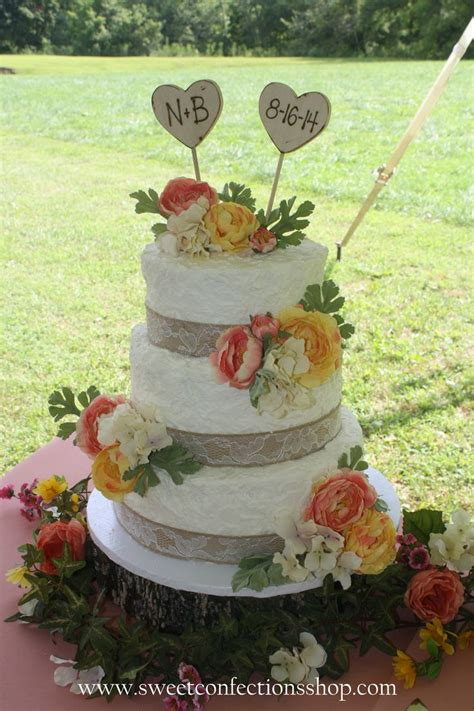 Country Wedding Cake With Burlap And Lace Ribbon Peach