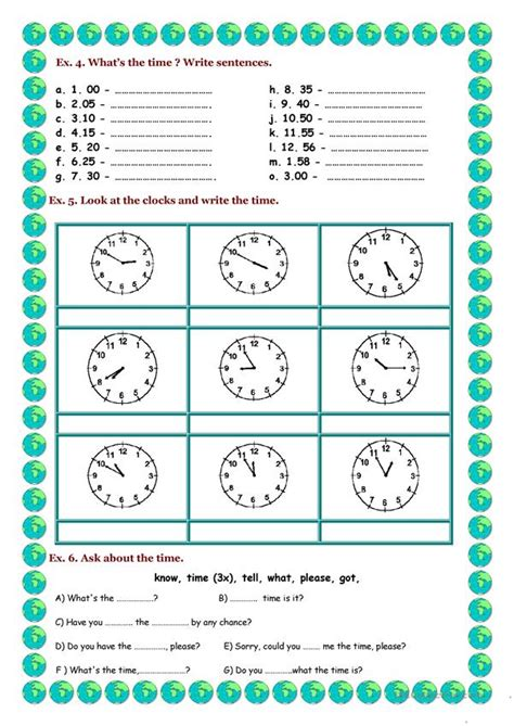telling  time english esl worksheets  distance