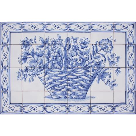 portuguese tiles panel traditional blue flowers basket