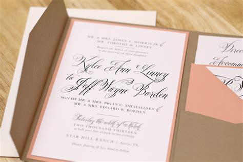 Kxo Design Rustic Peach Wedding Invitation With Kraft