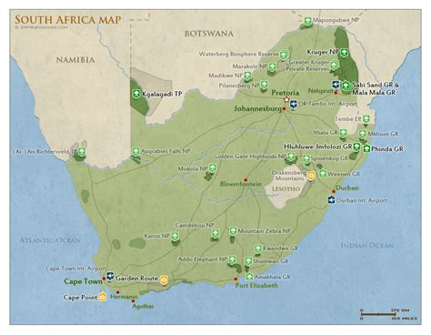 Detailed Map Of South Africa National Parks