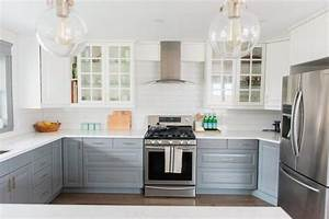 a gray and white ikea kitchen transformation the With kitchen colors with white cabinets with wall art at ikea