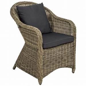 Chaise fauteuil de jardin de salon en resine tressee poly for Fauteuil en solde
