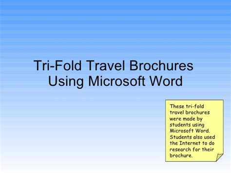 how to make a trifold pamphlet in word tri fold travel brochures using word