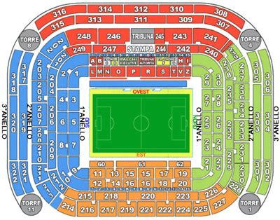 Mappa San Siro Ingressi Stadio San Siro