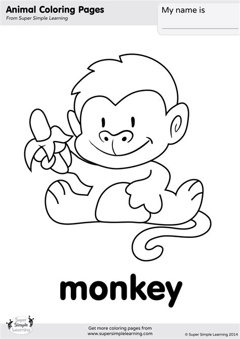 monkey coloring page super simple
