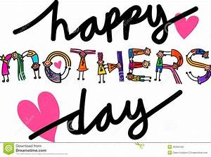 Happy Mothers Day Kids Title Text Stock Illustration ...