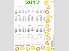 Calendar 2017 For USA With Colorful Flowers Stock Vector