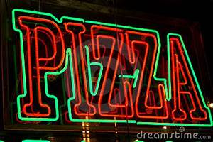 Neon Pizza Sign Stock Image