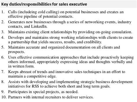 Executive Description Duties by Sales Executive Description