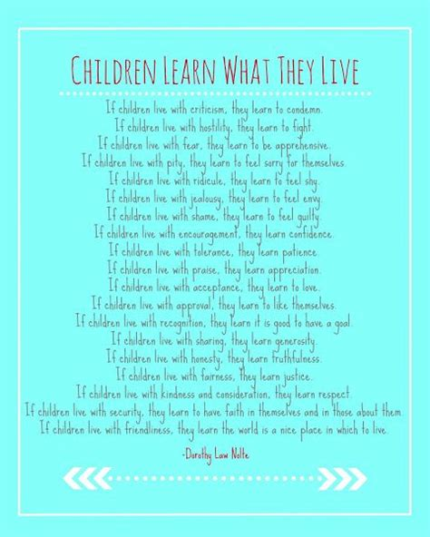 quot children learn what they live quot free printable written 878 | 86043f54dc28604eae1e97fe728939e7