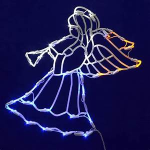 17, U0026quot, Lighted, Led, Angel, With, Horn, Christmas, Window, Silhouette, Decoration, -, Walmart, Com