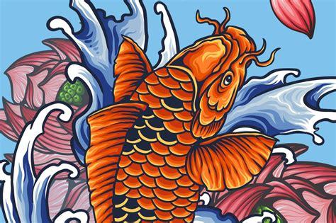 japanese koi tattoo illustrations creative market
