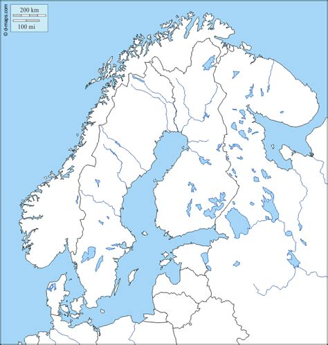 Scandinavia free map, free blank map, free outline map