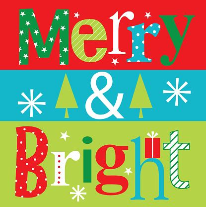 Merry And Bright Christmas Greeting Card Stock