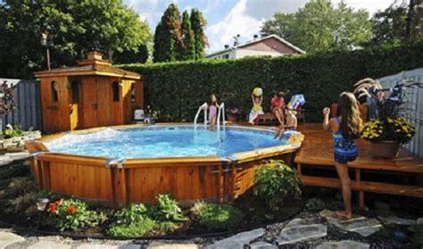 garden swimming pool wooden style cheerful children