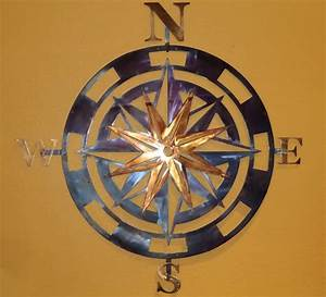 Buy a custom made compass rose metal wall art home decor