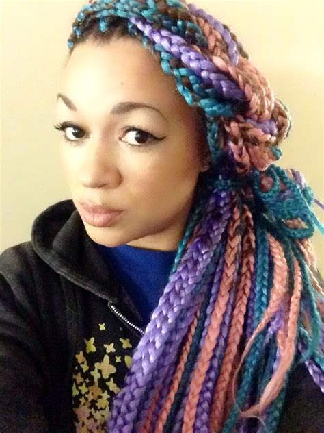 box braids with color i tried it multi colored box braids box colored box