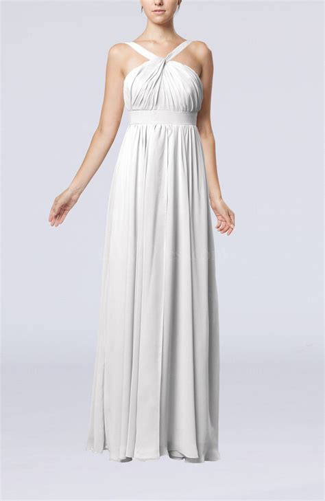 white simple  neck sleeveless chiffon floor length party