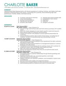 career objective exles for fashion retail stores rep retail sales resume sle my perfect resume