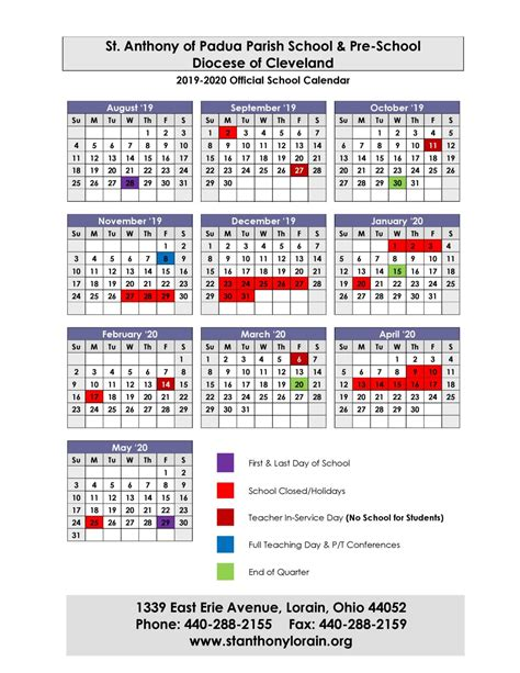 school calendar st anthony padua catholic parish school