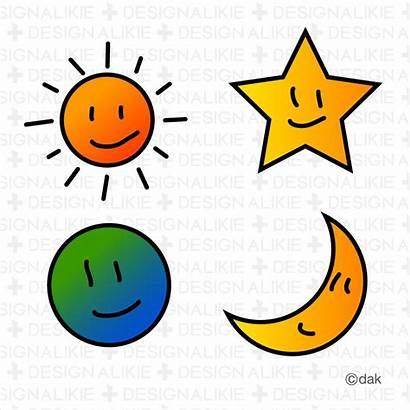 Moon Sun Stars Clipart Clip Earth Border