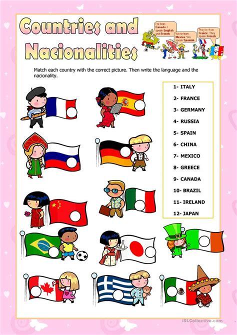 countries  nationalities worksheet  esl printable